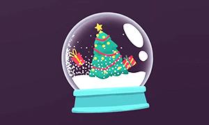 圣诞雪花玻璃球工程文件